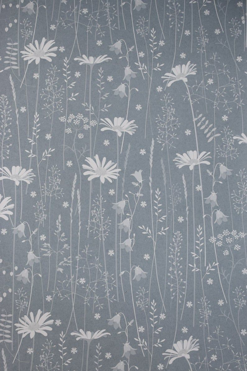 SAMPLE  Blue Teal Floral Tonal Botanical Dandelion Woodland Wallpaper  Paper Meadow in /'Teal/' by Hannah Nunn