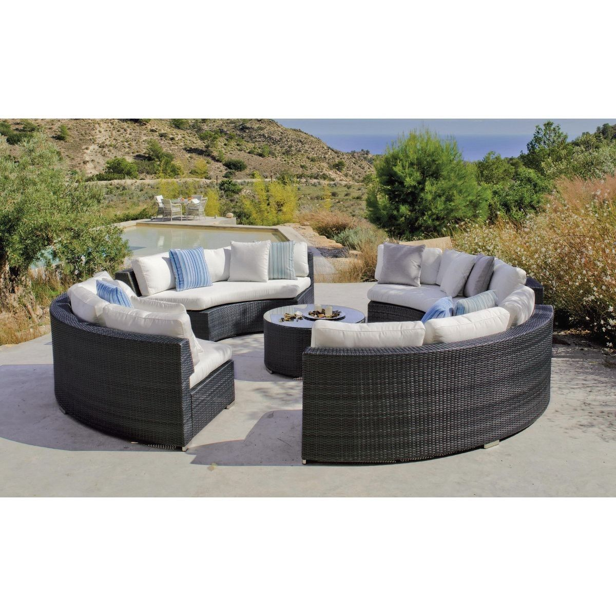 Canape Jardin Cercle Et Table Basse Salermo Taille 8 Pers