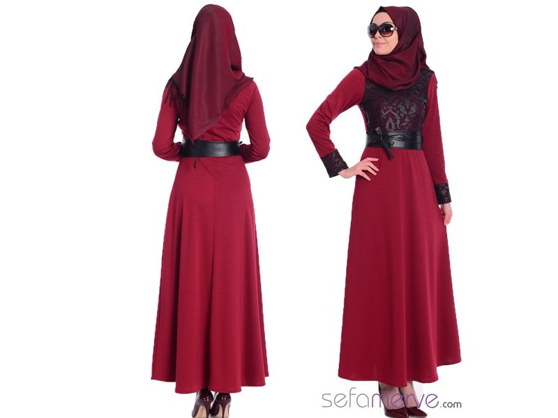 Tesettur Elbise 7192 01 Bordo Sefamerve Tesetturgiyim Tesettur Hijab Tesettur Moda Stilleri Giyim Elbise