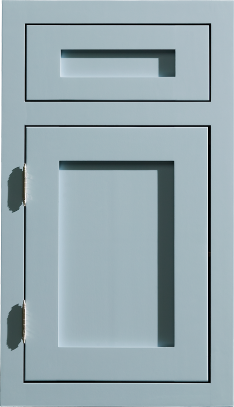 Dura Supreme Homestead Panel Inset Style In A Light Gray Blue Painted Finish