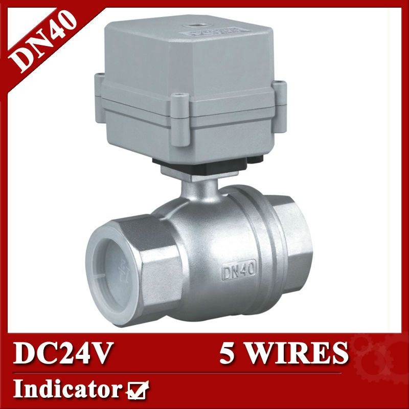 1 1 2 Dc24v Stainless Steel 304 Electric Valve Dn40 Motorized Valve 5 Wires Electric Ball Valve Wi Stainless Steel 304 Hvac System Water Treatment