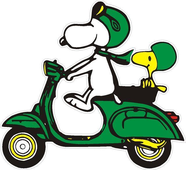 Vespa Scooter Cartoon Aufkleber Snoopy Auf Vespa Gruen 3
