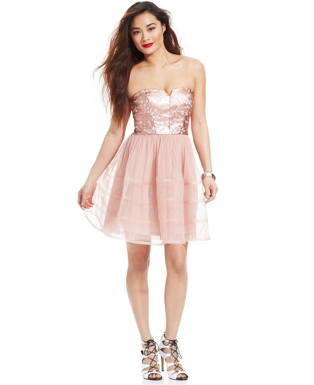 Betsey johnson strapless fauxleather chiffon dress dresses
