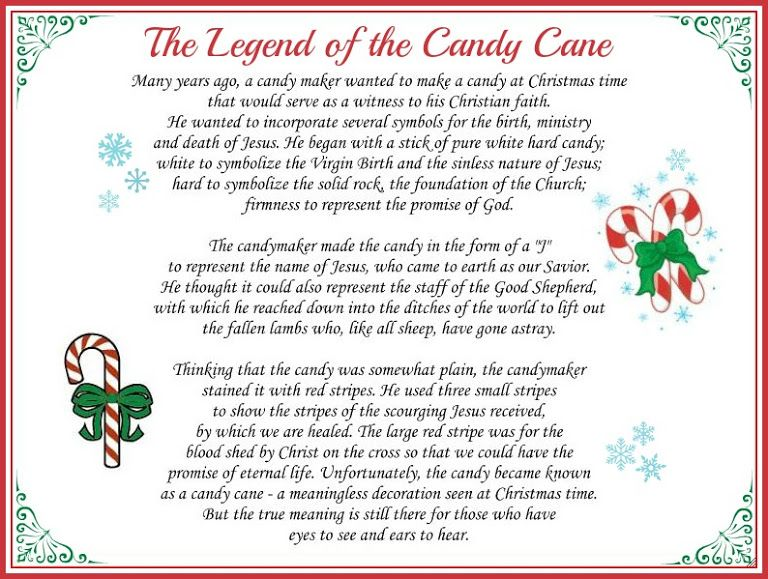 The Legend Of The Candy Cane Large Printable Candy Cane Legend