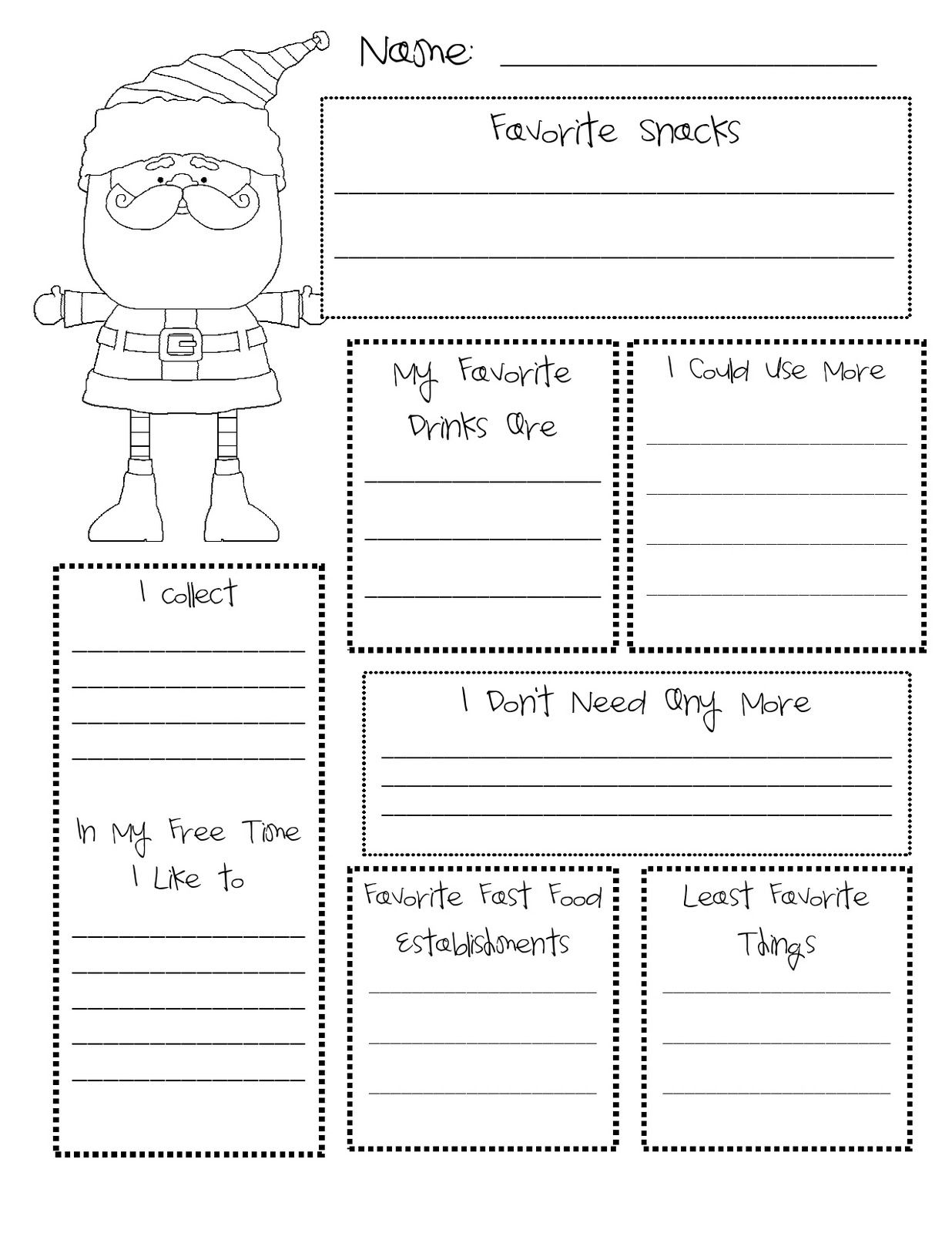 Clean image in secret santa wish list printable