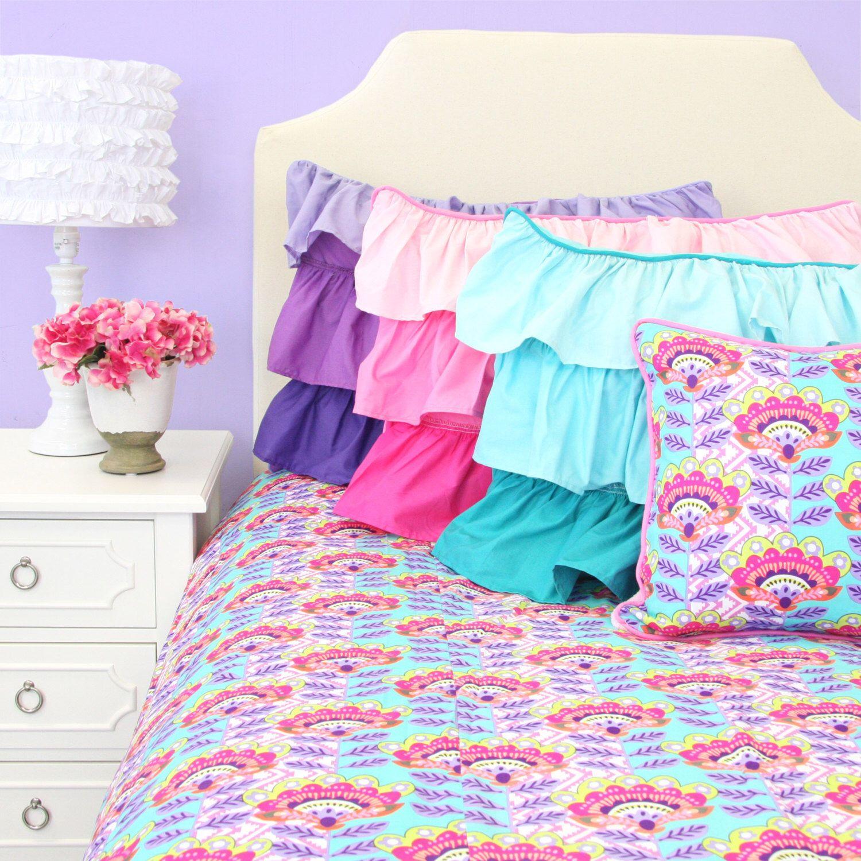 Avery's Aztec Big Kid Twin, Full, Queen Bedding | Pink, Aqua, and Purple Big Kid Bedding by CadenLaneBabyBedding on Etsy https://www.etsy.com/listing/269575517/averys-aztec-big-kid-twin-full-queen