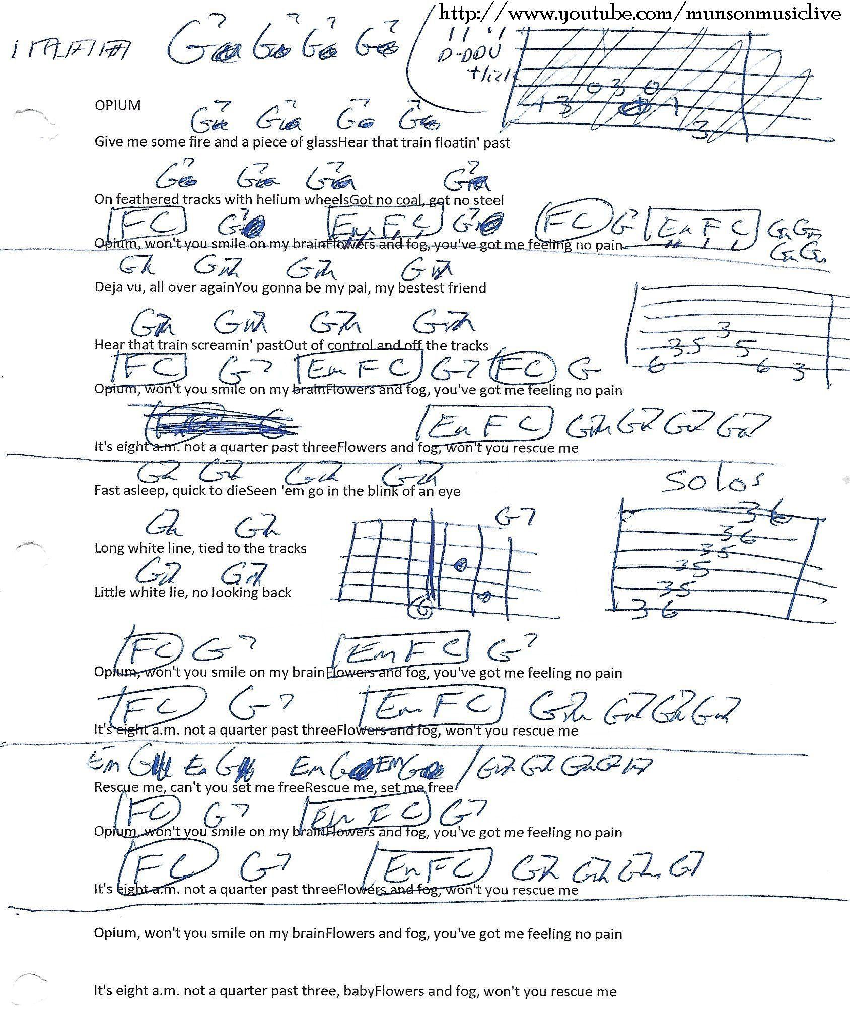 Opium Warren Haynes Guitar Chord Chart  Guitar Lesson Chord
