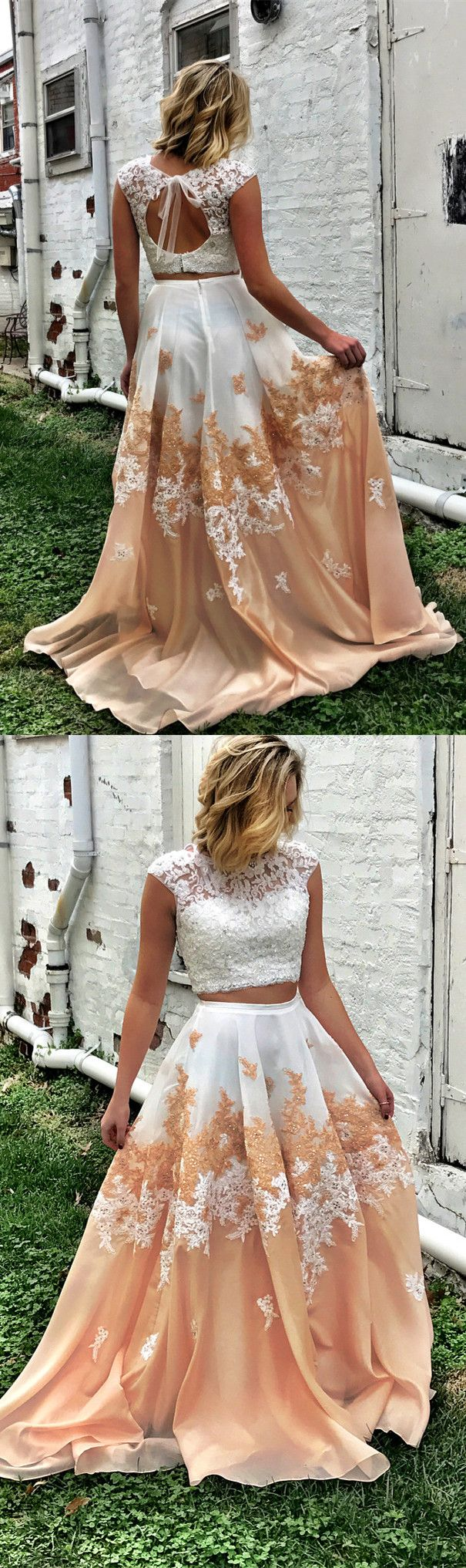 Prom dress two piece long prom dress princess prom dress