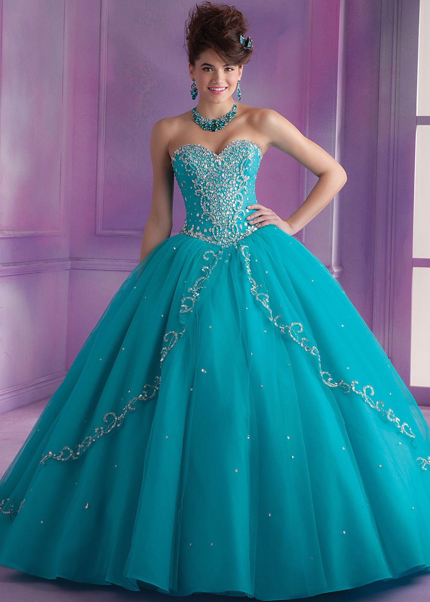 Strapless beaded and embroidered ball gown with sweetheart neckline ...