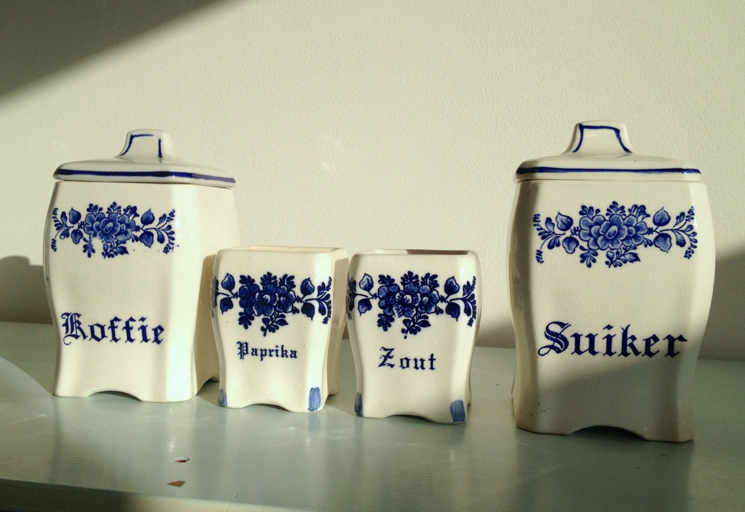 Vintage White Ceramic Kitchen Canister Set Coffee Sugar Spice Jars Containers Dutch Delft Blue Style Blue And White China Ceramic Kitchen Canisters Dutch Decor