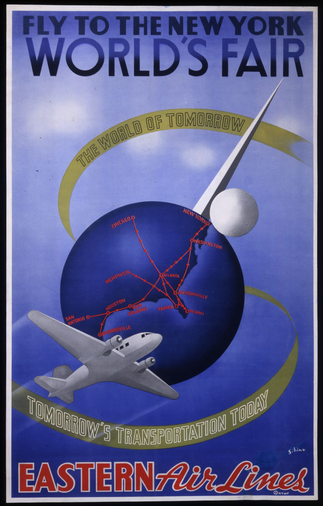 Eastern Airlines Poster for the 1939 New York World's Fair ...