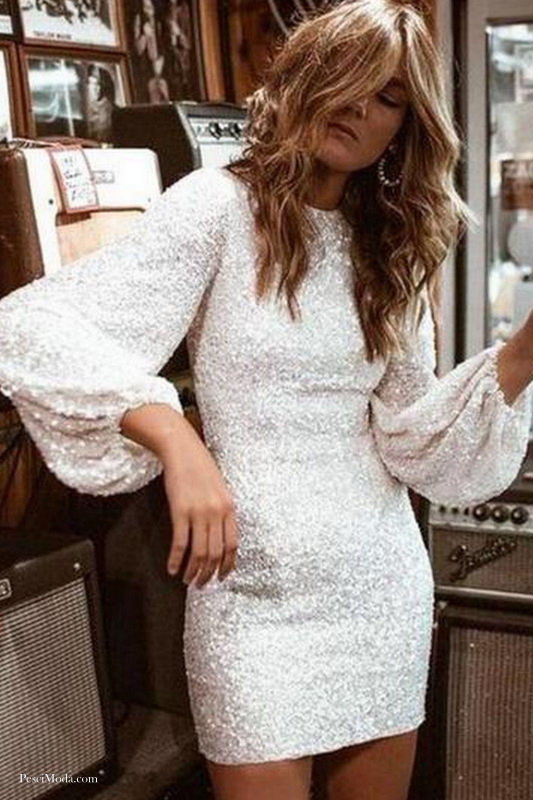 White Sequins Party Dress On Sale Women Long Sleeve Dress Sequin Bodycon Dress Mini Dress Party [ 1600 x 1067 Pixel ]
