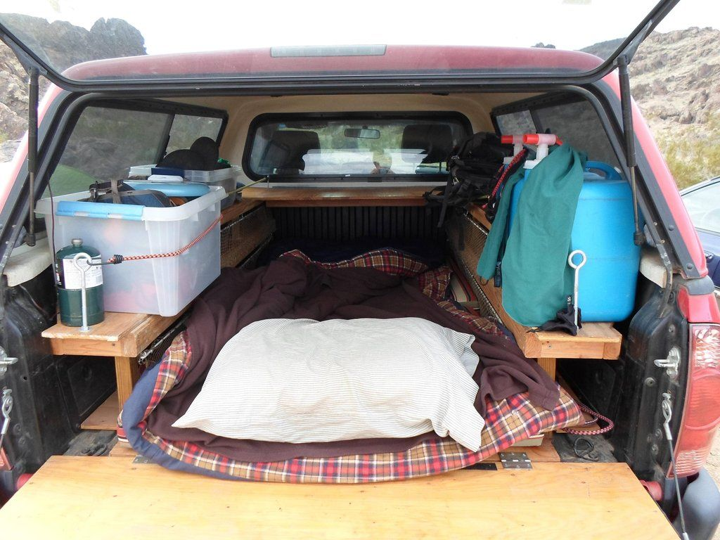 Truck bed camping.