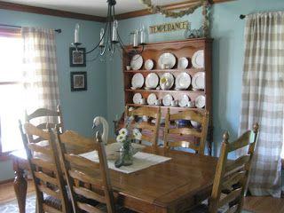 Mary Roseu0027s Cafe: Sherwin Williams Watery Ballard Designs Buffalo Check Curtains  Ballard Designs Tortolla Rug