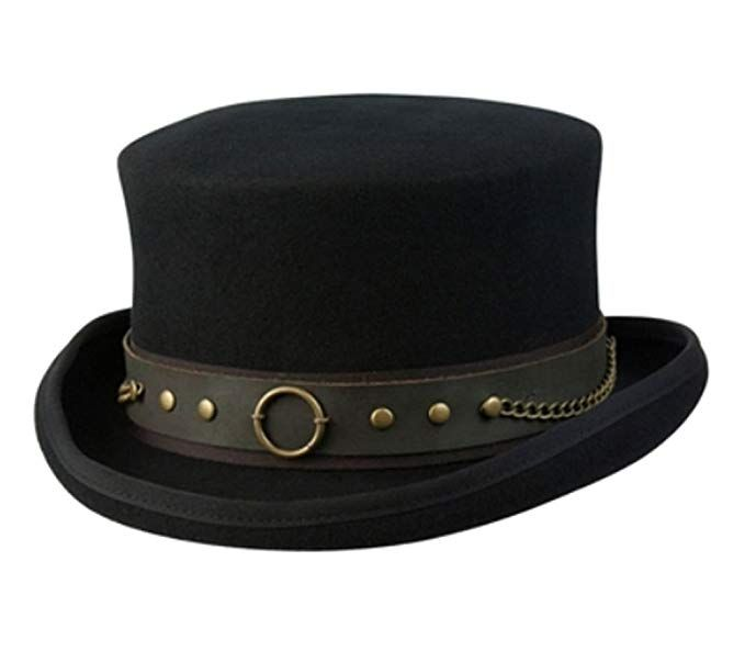 79a070847ca850 Amazon.com: Cov-ver Hats, Australian Wool Steam-Punk Top Hat With Brass  Rings: Clothing