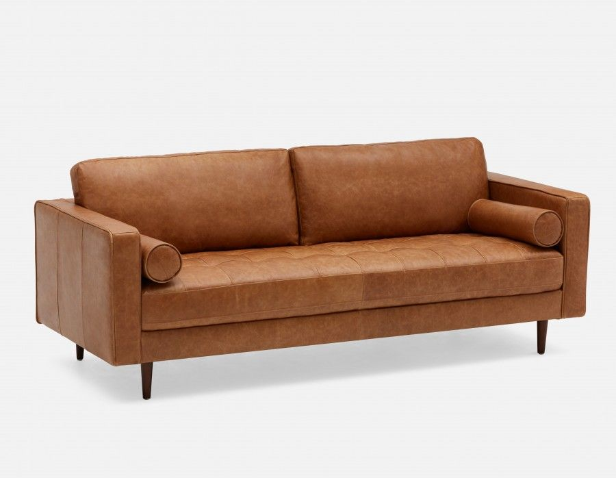Kinsey 100 Leather 3 Seater Sofa Caramel From Structube Modern Leather Sofa Seater Sofa Leather Sectional Sofas