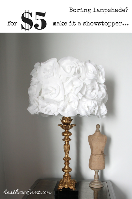 Plain Jane Lampshade Turn It Into A Stunner With This 5 DIY Fabric Flower Tutorial From Heathered Nest