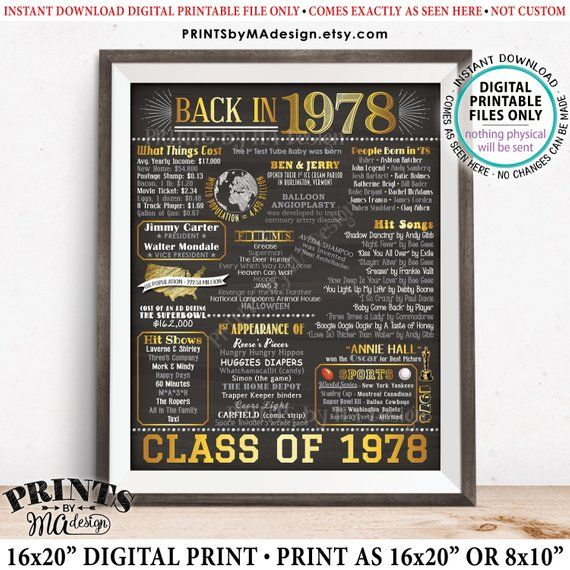 Class of 1978 Reunion, Flashback to 1978 Poster, Back in ...