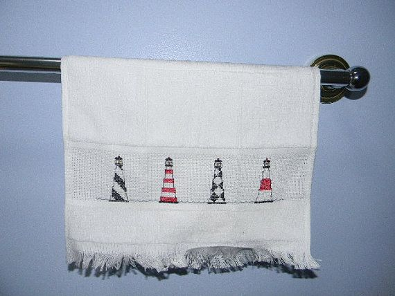 Light House Cross Stitch Hand Towel Guest Towel By