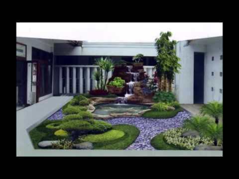 dekorasi taman di belakang perumahan mewah | halaman