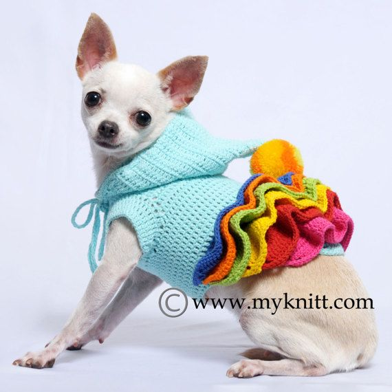 Small Dog Clothes, Crocheted Dog Dress, Colorful Dog Hoodie, Cute ...