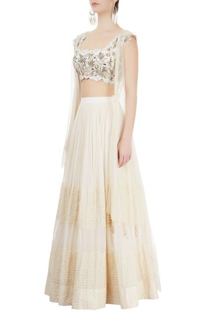 b0187b089f Ivory lehenga & embroiderd blouse with shrug | What?! Wedding!!! in ...