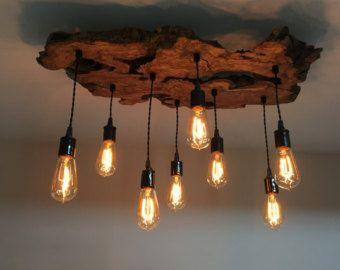 Kronleuchter Rund Holz ~ Customized large live edge slab light fixture with edison bulbs