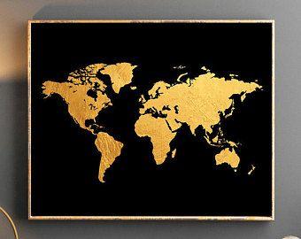 Gold world map world map wall art gold world map poster golden world gold world map world map wall art gold world map poster golden world map watercolor wallpaper gumiabroncs Gallery