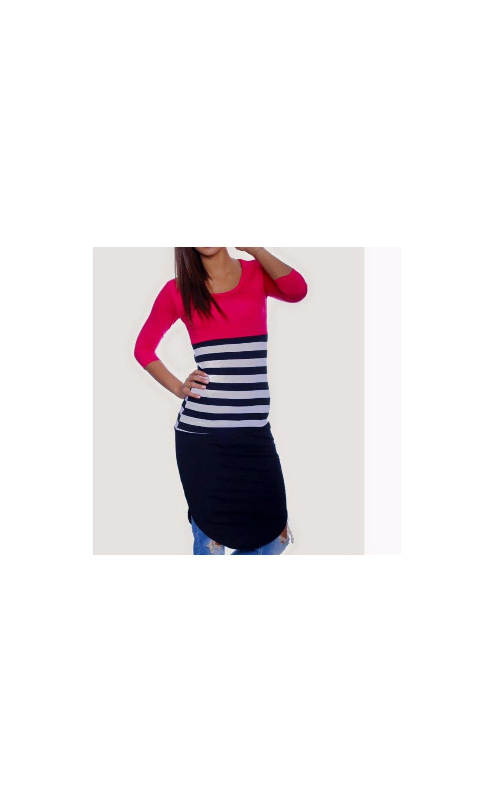 1725171dcc1 Háromnegyedes ujjú ruha, 3/4 es ujjú ruha magenta fekete színű ruhák ...