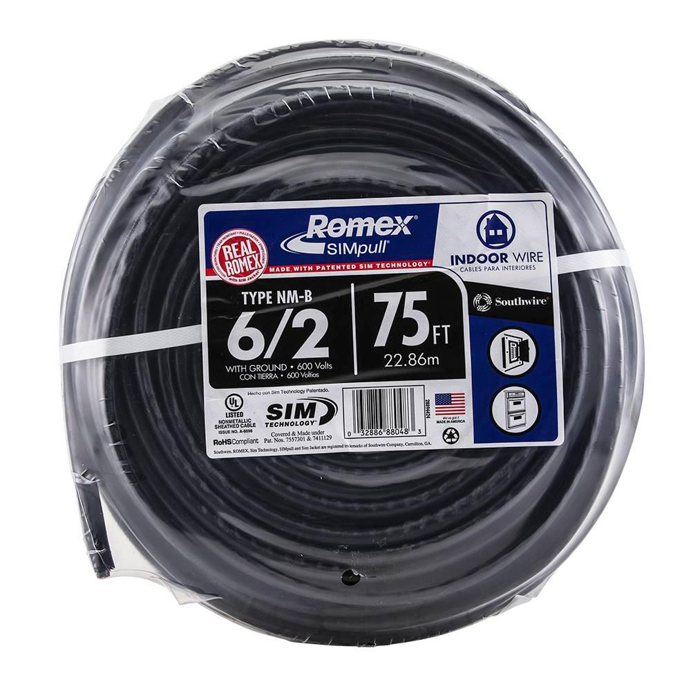 75 ft. 6/2 Stranded Romex SIMpull CU NM-B W/G Wire   Outlets and ...