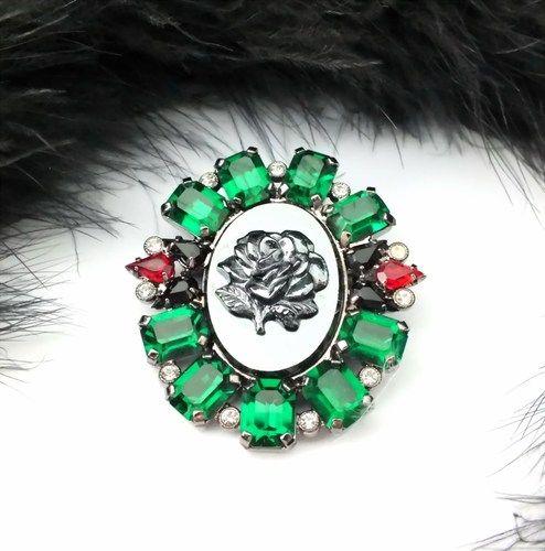 Strassbrosche - Grün/Rot/Crystal - Unikat aus Gablonz/Böhmen *swa367