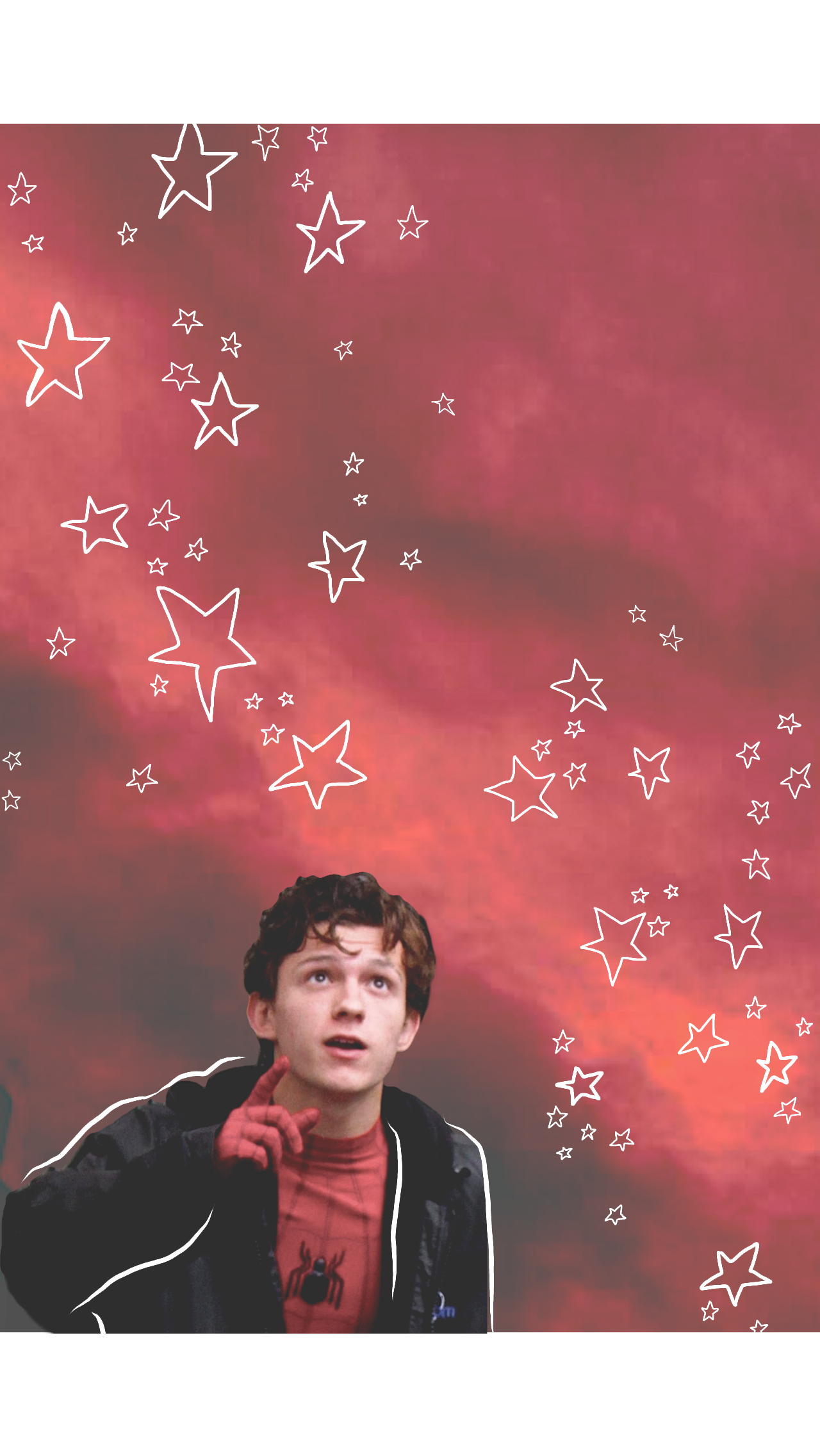 Tom Holland/peter parker red/pink wallpaper with stars
