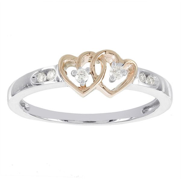 Diamond Accent 10K Two Tone Gold Double Heart Promise Ring $650