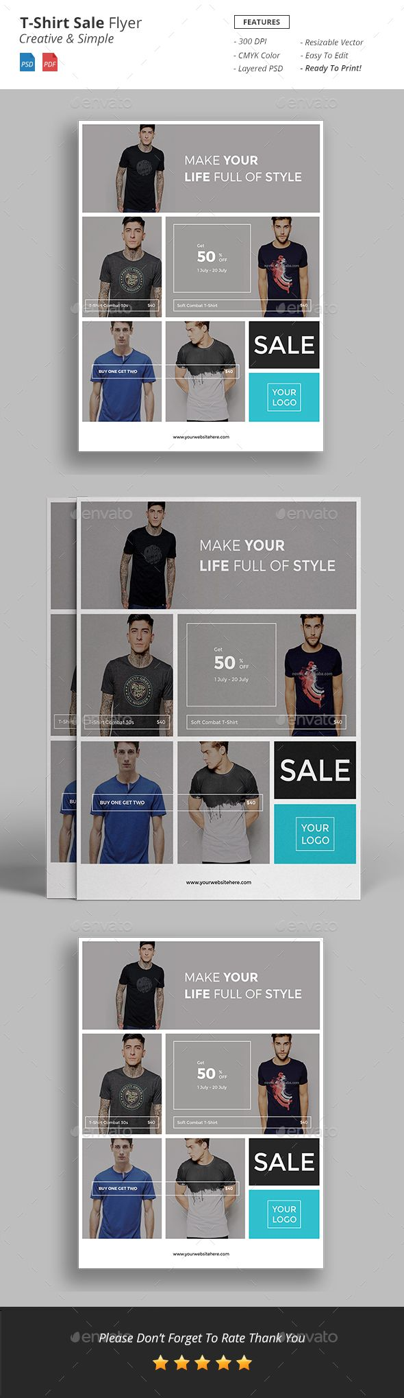 T Shirt Sale Flyer Is Totally Creative Corporate Flyer It S Very Recommended To Use For Company Promotion To Describe Your Compa Sale Flyer Tshirt Sale Flyer