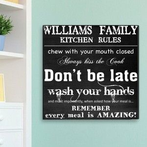 Family Kitchen Rules Canvas Print | Personalized Canvas Signs | Arttowngifts.com #kitchenrules