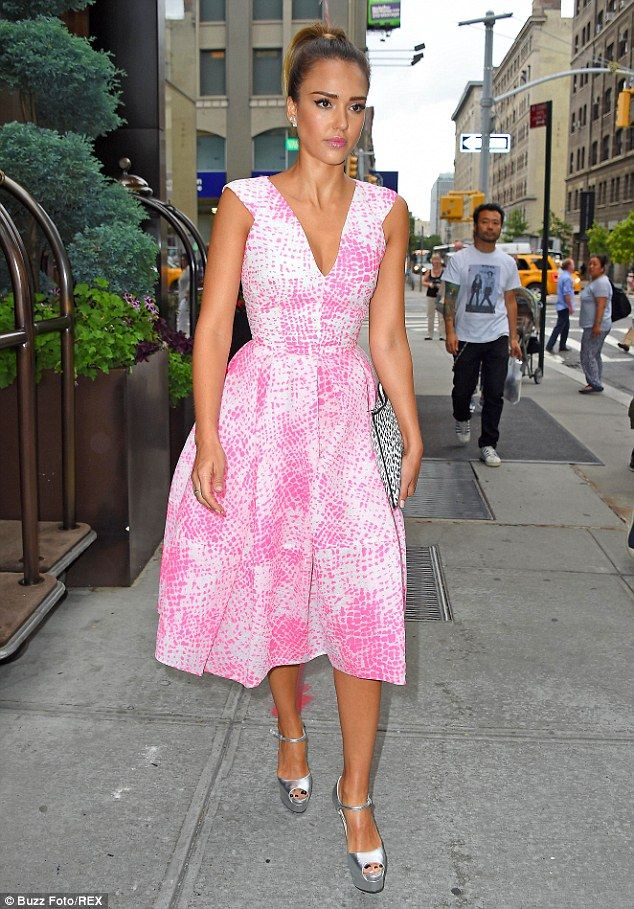 Jessica Alba shows her feminine side in a pastel print dress in NY ...