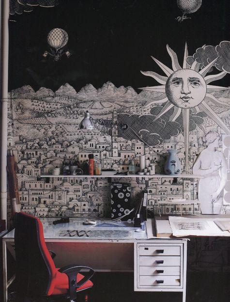 Black And White Fornasetti Sun Mural Behind Desk