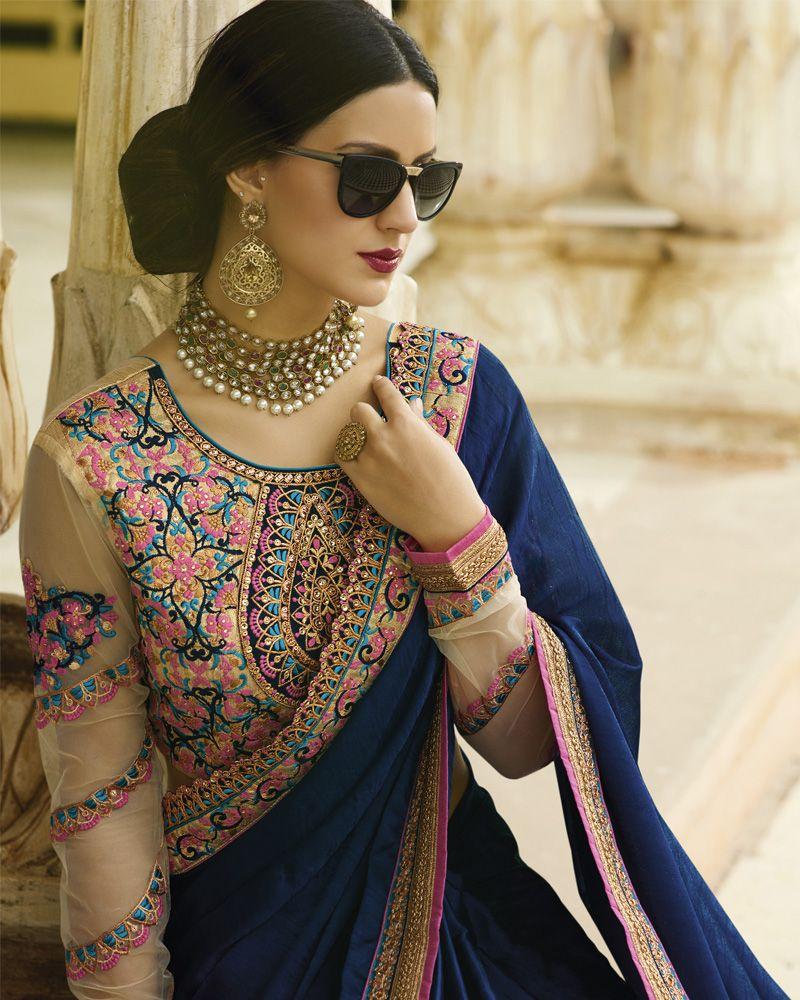 Engagement pattu saree images vishvaa  navy blue saree  heavy zari silk embroidery with stone