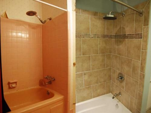Bathroom Renovation - Before and After Pics. Nice update on standard ...