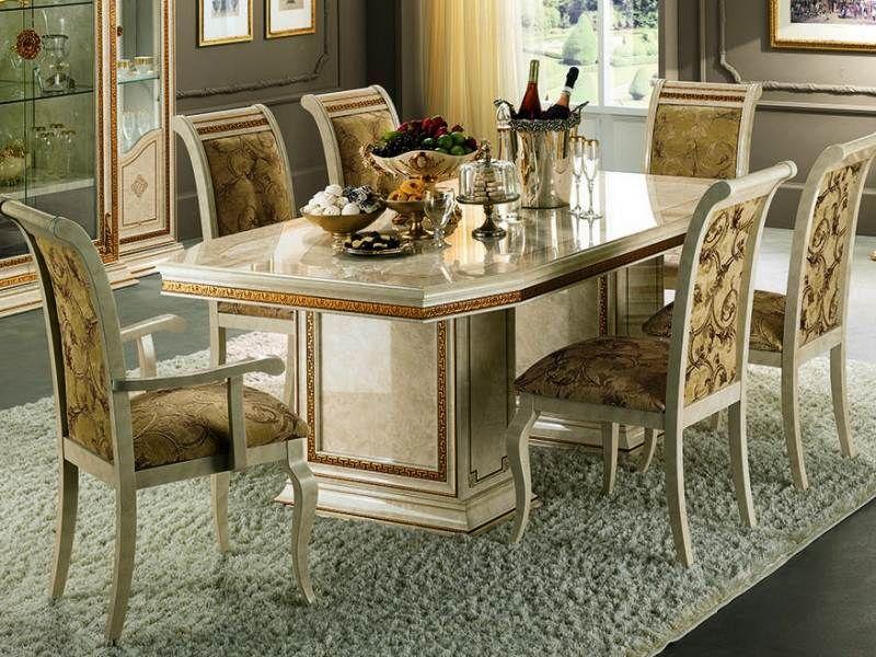 style Louis XV, table à mangé laqué crème avec orenementation et - salle a manger louis