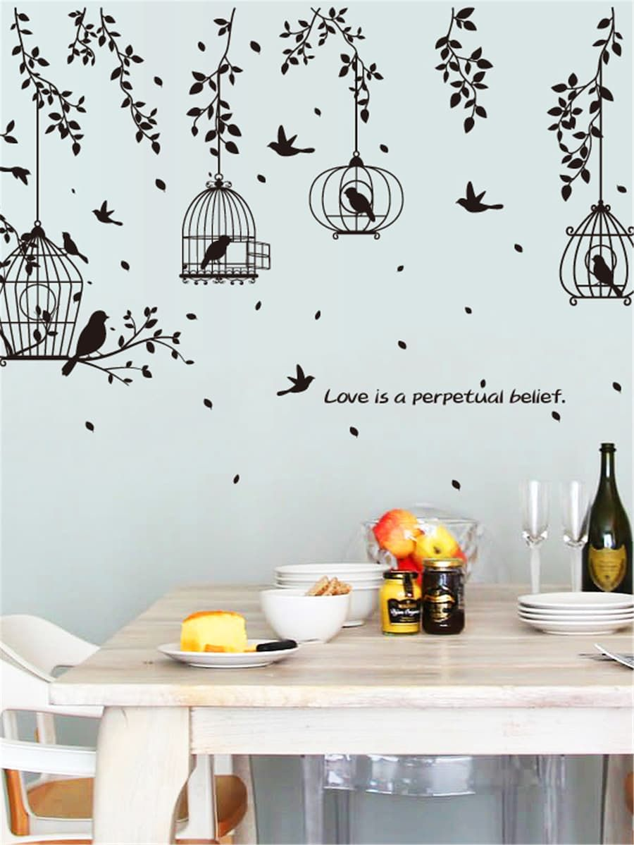 Cages Bird Wall Sticker Shein Sheinside Wall Decor Stickers