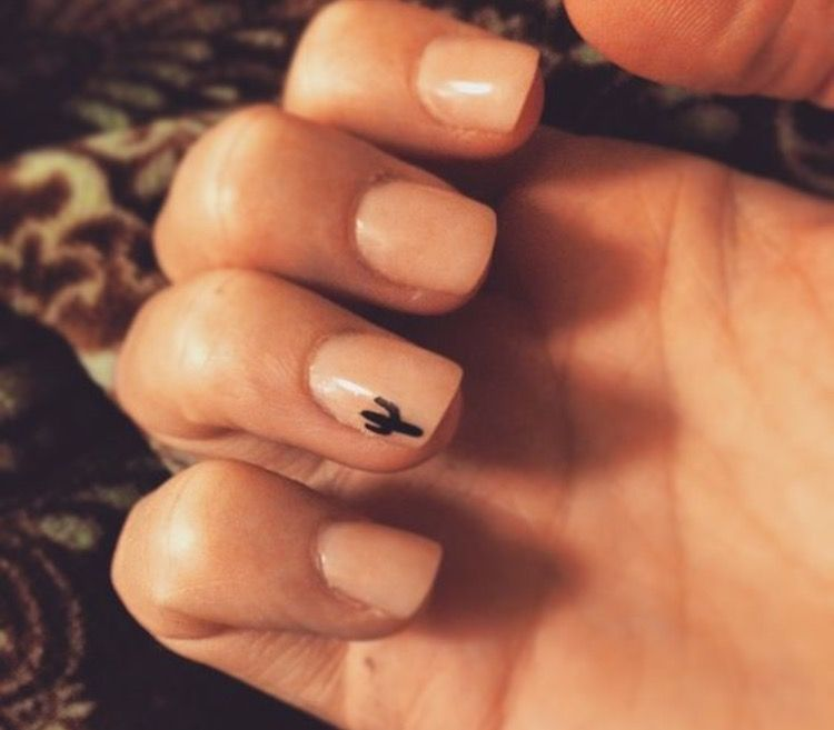 Nail art that is simple and easy ; cactus https://www.facebook.com ...