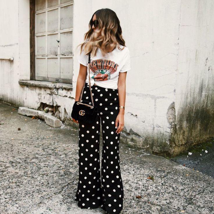 917871960b wide leg pants, polka dot pants, street style, wide leg pants outfit,  graphic tee outfit, polka dots outfit