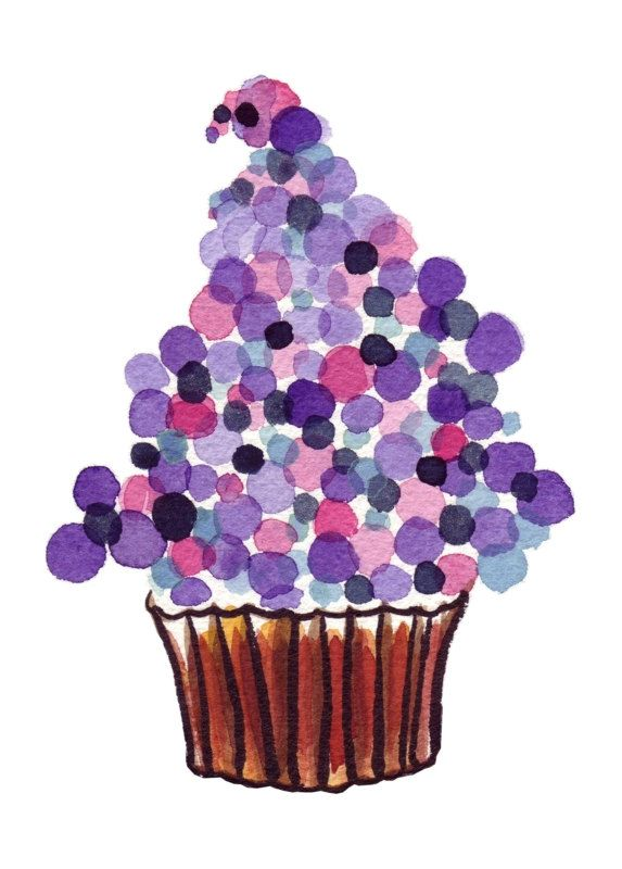 set of 4 cupcakes - watercolor purple