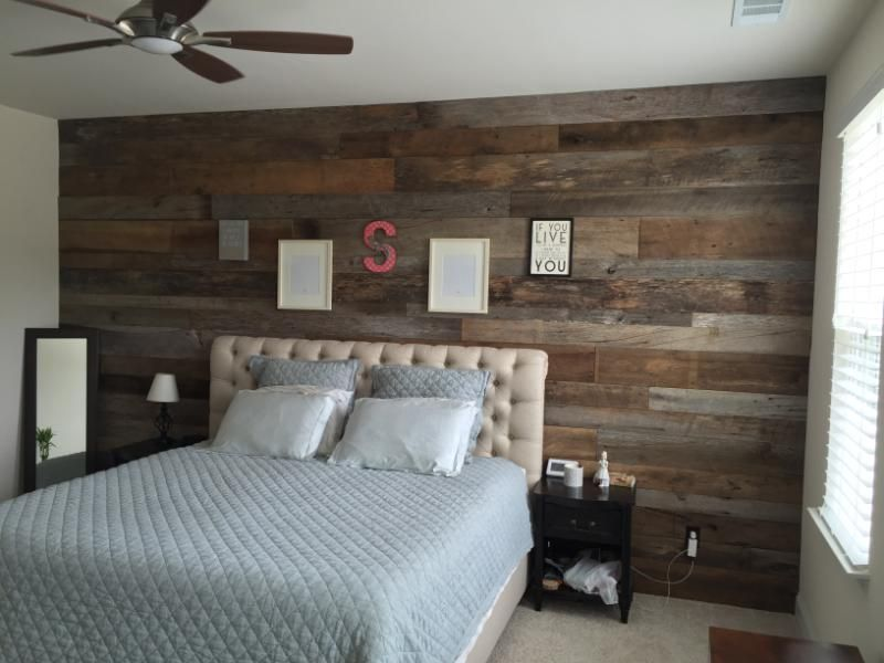 Master Bedroom Reclaimed Wood Woodaccentwall Reclaimedlumber Urban Rooms Home Brown Accent Wall