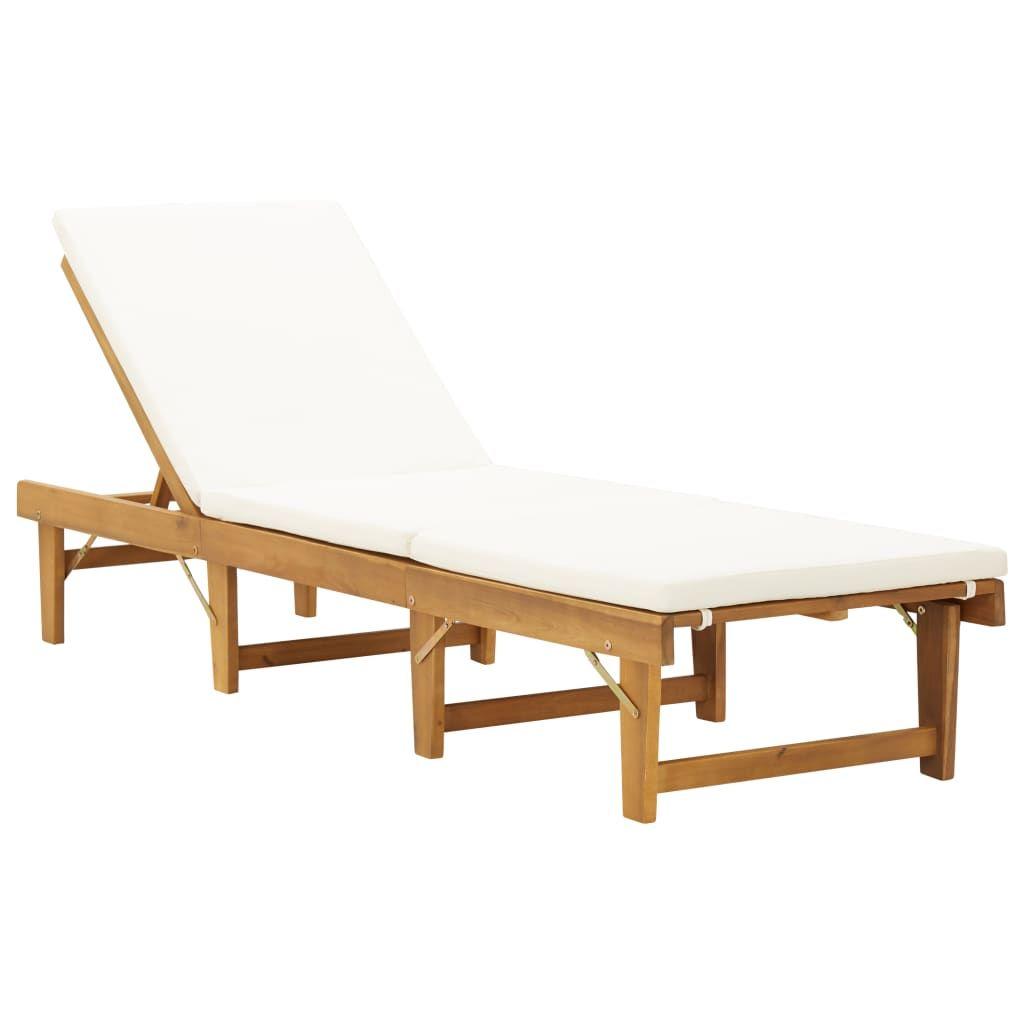Chaise Longue Pliante Avec Coussin Bois D Acacia Solide 46490 En 2020 Chaise Longue Pliante Chaise Longue Bain De Soleil