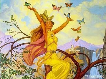 Native American Crone Her Direction is Center. Call on her to manage Spring, Fertility, Freedom, Harvest, Balance, Nature, Beauty and Rebirth . Her symbols are Rain Water, Seedlings and Spring Flowers. Her totem is Butterfly .
