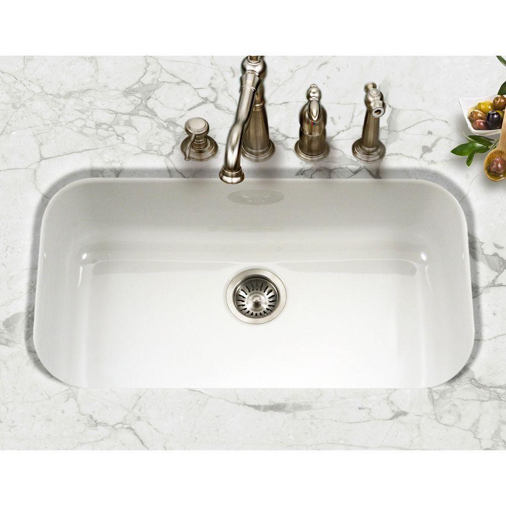 Houzer Porcela Series Undermount Porcelain Enamel Steel 31 In Large Single Bowl Kitchen Sin Porcelain Kitchen Sink Undermount Kitchen Sinks White Kitchen Sink