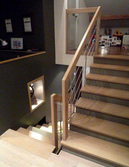 Habillage escalier béton moderne avec marches et mains courantes en chêne et bastingage inox brossé escalier béton ou habillage descalier