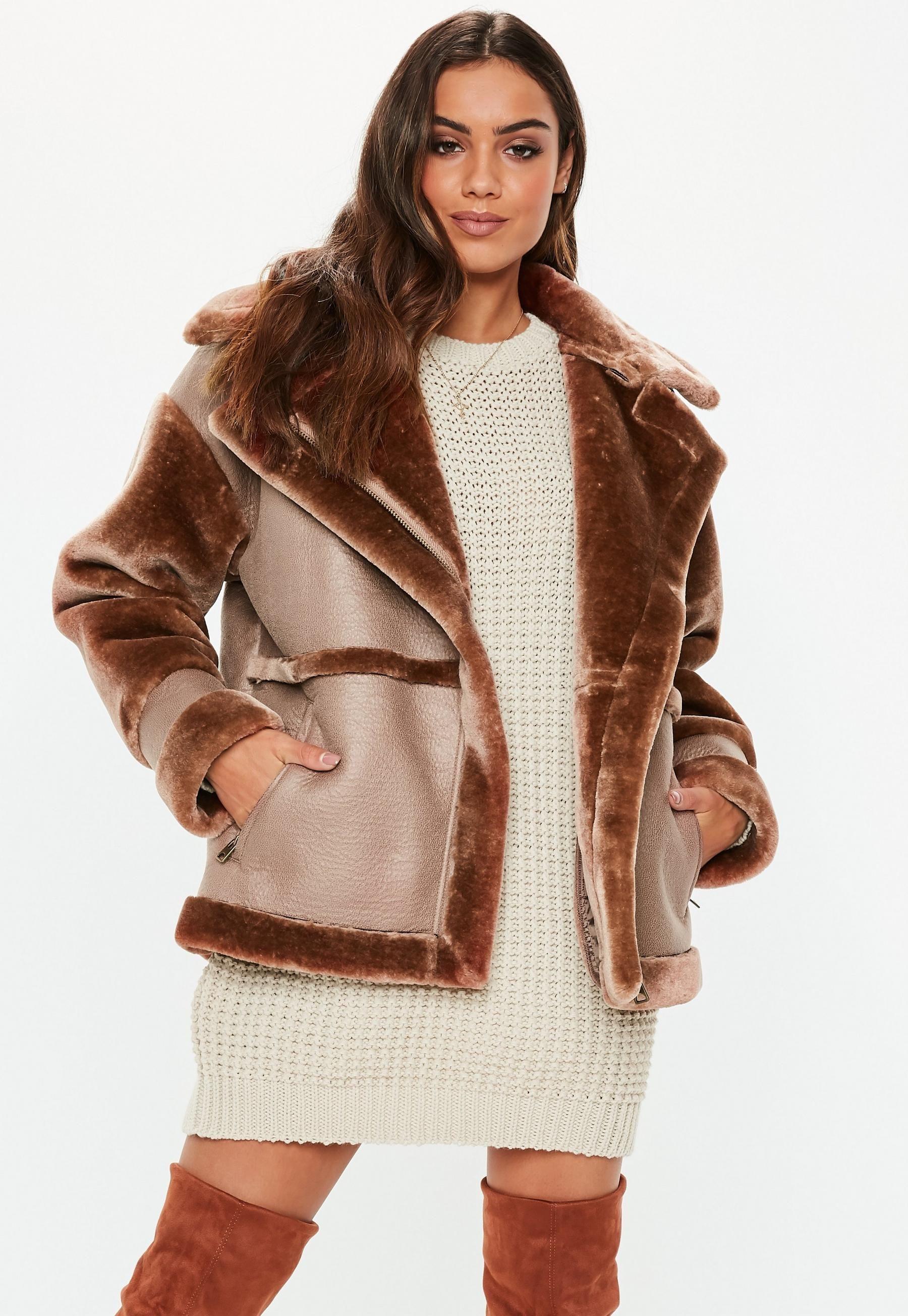 Max Mara Aviator Leather /& Shearling Coat
